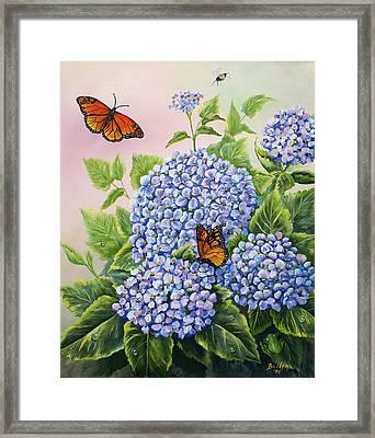 Monarchs And Hydrangeas Framed Print by Gail Butler
