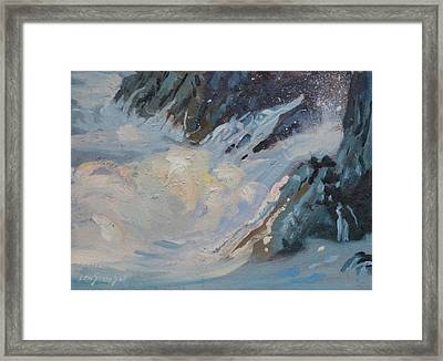 Framed Print featuring the painting Monarola Surf by Len Stomski