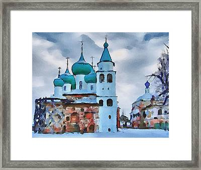 Monastery Construction Framed Print by Yury Malkov