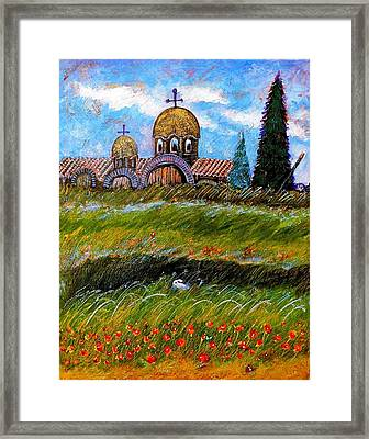 Monastery In Greece Framed Print by Ion vincent DAnu