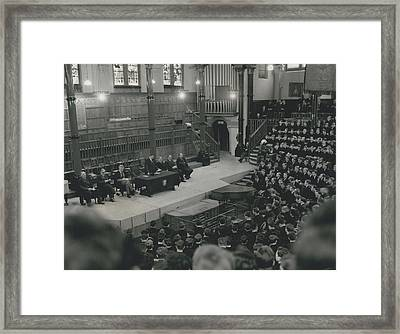 Monday Assembly In The Speech Room At Harrow School Framed Print by Retro Images Archive