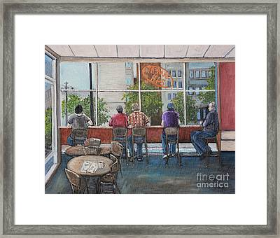 Mondays At Tim Hortons Framed Print by Reb Frost