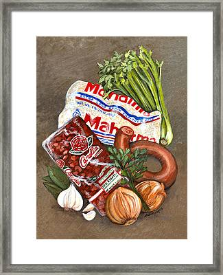 Monday's Tradition - Red Beans And Rice Framed Print