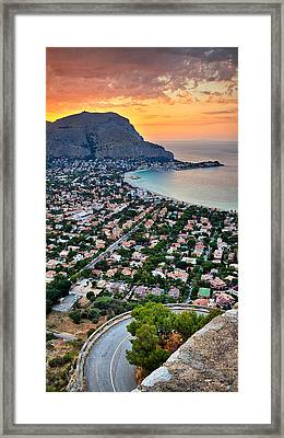 Mondello Beach Sunset Framed Print by Viacheslav Savitskiy