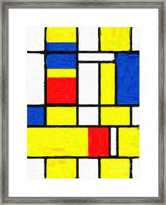 Mondrian Rectangles  Framed Print by Celestial Images