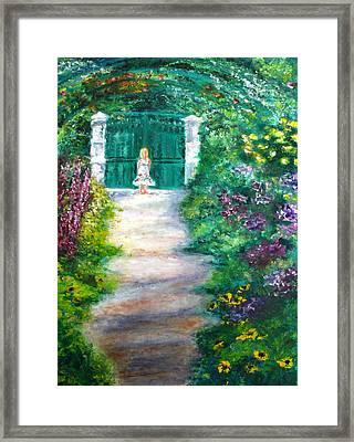 Monet Garden Admirer Framed Print