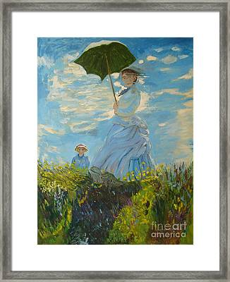 Monet-lady With A Parasol-joseph Hawkins Framed Print