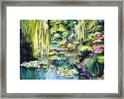 Monet's Garden Framed Print by Cindy Morgan
