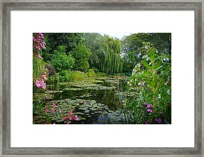 Monet's Pond With Waterlilies And Bridge Framed Print by Carla Parris