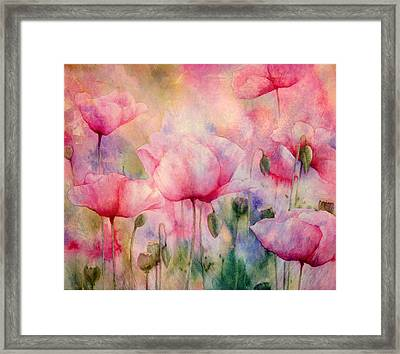 Monet's Poppies Vintage Warmth Framed Print
