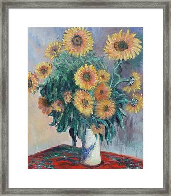 Framed Print featuring the painting Monet's Sunflowers by Catherine Hamill