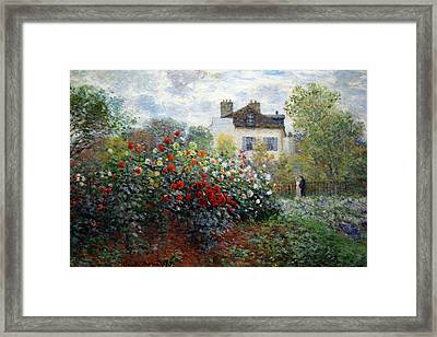 Framed Print featuring the photograph Monet's The Artist's Garden In Argenteuil  -- A Corner Of The Garden With Dahlias by Cora Wandel