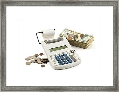 Money And Calculator On White Background Framed Print