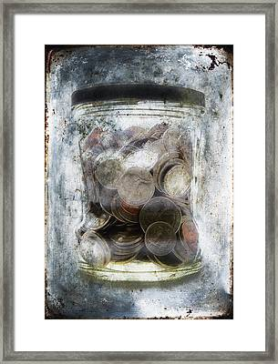 Money Frozen In A Jar Framed Print