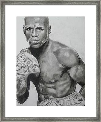 Money Mayweather Framed Print by Aaron Balderas