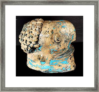 Monitor Beige And Turquise Framed Print by Mark M  Mellon