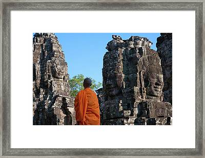 Monk At Bayon Temple, Angkor Thom Framed Print by Keren Su