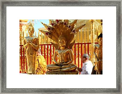 Monk Ceremony - Wat Phrathat Doi Suthep - Chiang Mai Thailand - 011313 Framed Print by DC Photographer