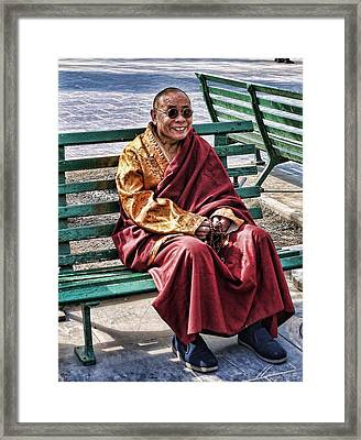 Monk In The Park Framed Print by Barb Hauxwell