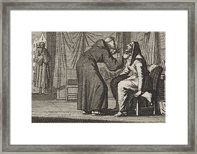 Monk Looks Into The Gaping Mouth Of An Old Woman Framed Print by Caspar Luyken And Christoph Weigel