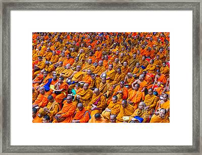 Monk Mass Alms Giving In Bangkok Framed Print