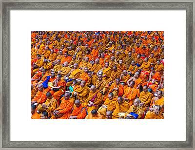 Monk Mass Alms Giving In Bangkok Framed Print by Fototrav Print