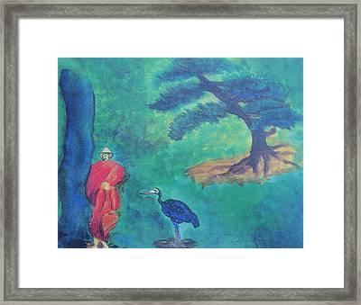 Monk With Bonzai Tree Framed Print by Debbie Nester