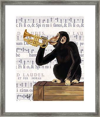 Monkey And Trumpet Framed Print by Kelly McLaughlan