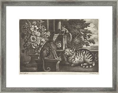 Monkey, Cat, Squirrel And Magpie, Jan Griffier Framed Print by Jan Griffier I And Francis Barlow And Pierce Tempest