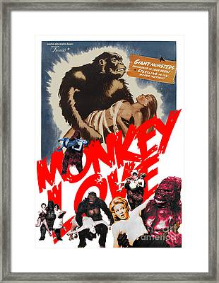 Framed Print featuring the digital art Monkey Love by Sasha Keen