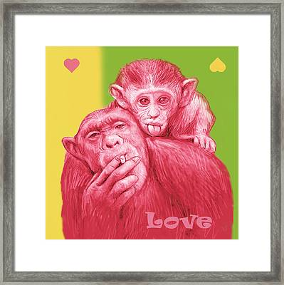 Monkey Love With Mum - Stylised Drawing Art Poster Framed Print by Kim Wang