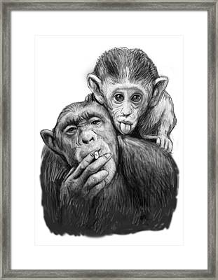 Monkey Mum With Son Drawing Sketch Framed Print by Kim Wang