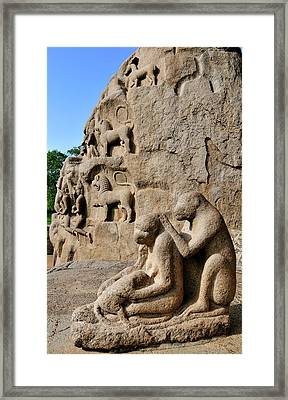 Monkey Sculptures Near The Arjuna's Framed Print by Steve Roxbury