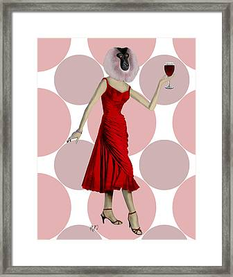 Monkey With A Glass Of Wine Framed Print by Kelly McLaughlan