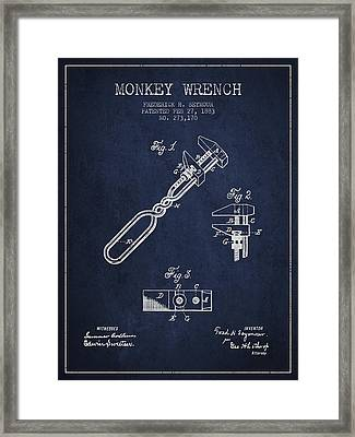 Monkey Wrench Patent Drawing From 1883 Framed Print