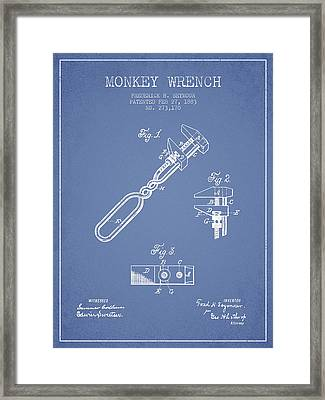 Monkey Wrench Patent Drawing From 1883 - Light Blue Framed Print