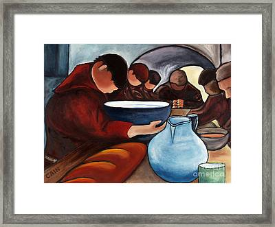 Monks At Prayer Framed Print