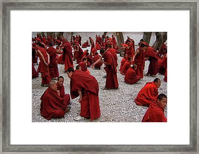 Monks Debating Framed Print
