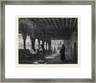 Monks Illuminating In A Convent At Valladolid Spain Framed Print