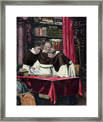 Monks Reading A Copy Of The Gutenberg Framed Print by Prisma Archivo
