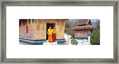 Monks Wat Xien Thong Luang Prabang Laos Framed Print by Panoramic Images