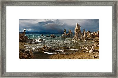 Mono Lake Stormy Panorama Framed Print by Dave Dilli