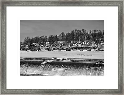 Monochrome Boathouse Row Framed Print