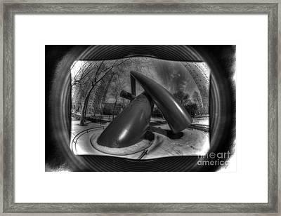 Monochrome Encompassed - Upenn Dueling Tampons Framed Print by Mark Ayzenberg