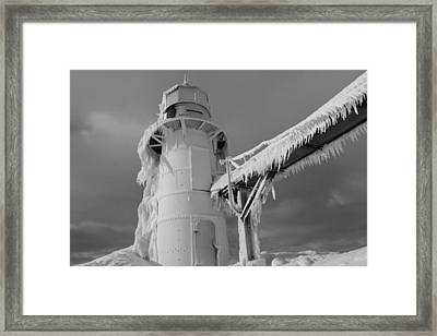 Monochrome Frozen Lighthouse Grand Haven Michigan Framed Print