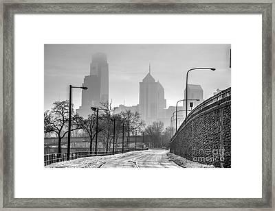 Monochrome Philly Skyline In The Snowy Fog Framed Print by Mark Ayzenberg