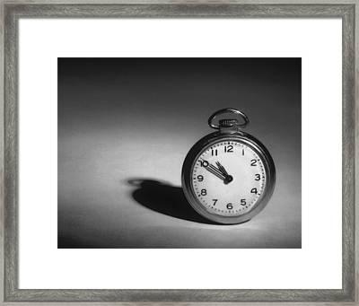 Monochrome Pocket Watch  Framed Print by David and Carol Kelly