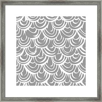 Monochrome Scallop Scales Framed Print by Sharon Turner