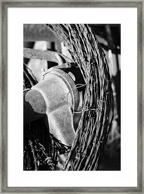 Monochromed Barbed Wire Framed Print
