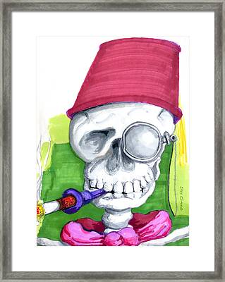 Monocle And Fez Framed Print by Del Gaizo